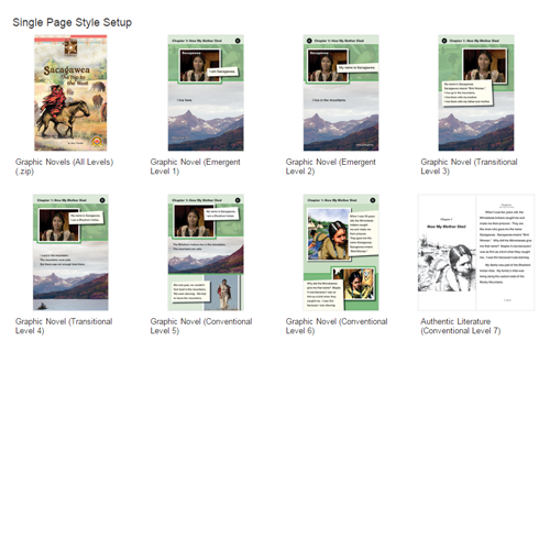 Single page graphic novels on Unit Resources page